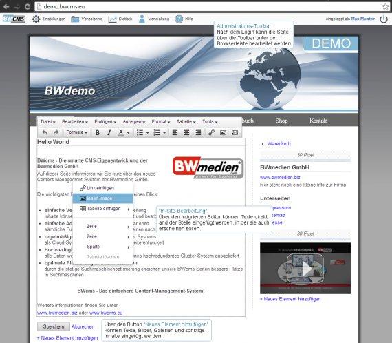 Screenshot BWcms mit Admin-Toolbar