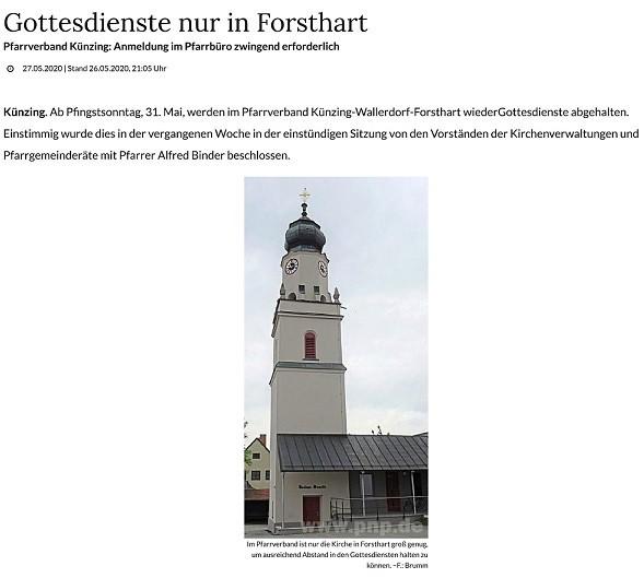 Gottesdienste nur in Forsthart